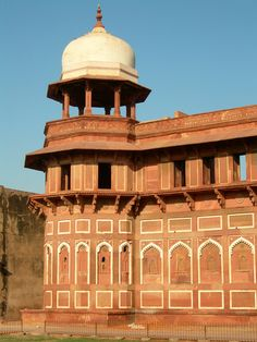 Walls of the Red Fort in Agra, INDIA.