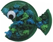 craft project for play group  - paper plate, tissue paper, glue, 35mm eye, scissors