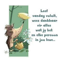 Leef vandag voluit, wees dankbaar vir alles wat jy het en elke persoon in jou lewe.. Afrikaanse Quotes, Goeie More, Love My Sister, Morning Prayers, My Land, Wisdom Quotes, Messages, Reading, Words