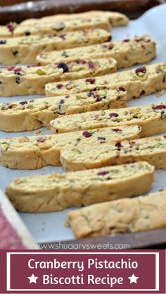 Crunchy Biscotti recipe made with Cranberry, Pistachio and White Chocolate. Keeping some biscotti on hand during the holiday season! Best Biscotti Recipe, Chocolate Biscotti Recipe, Biscotti Cookies, Cranberry Biscotti Recipes, Christmas Biscotti Recipe, Italian Biscotti Recipe, Christmas Cookies, Baking Recipes, Cookie Recipes
