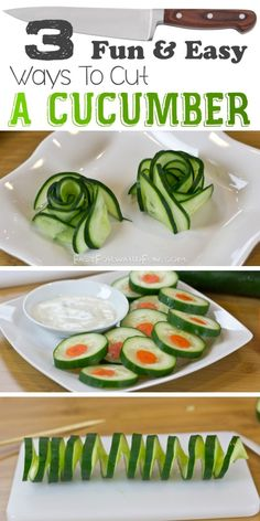 Super fun video tutorial! (less than a minute). I LOVE this site!! 3 Fun Ways To Cut A Cucumber by Fast Forward Fun