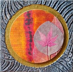 Printing with Gelli Arts®: Mixed Media Collage with Gelli Prints  This mixed media collage has a Fall theme and incorporates dried, pressed leaves and skeleton leaves. Your collage can follow any theme... or none!