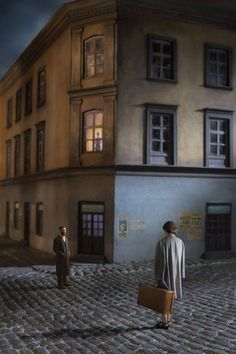 "Couple In The Street. Courtesy Klompching Gallery © Richard Tuschman Serie ""Once Upon A Time In Kazimierz"" Edward Hopper, Narrative Photography, Conceptual Photography, Color Photography, Contemporary Photography, Portrait Studio, Shooting Photo, Once Upon A Time, Old World"