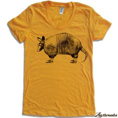 Womens ARMADILLO  T-Shirt american apparel S M L XL (16 Colors Available). $18.00, via Etsy.