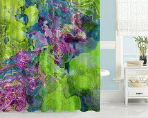 Contemporary shower curtain, abstract art bathroom decor, purple, blue and green shower curtain, bathroom art, Beautyberry