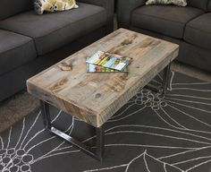 Reclaimed Wood Coffee Table, Tube Steel Legs - Free Shipping