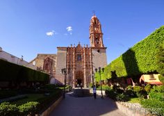Frontal Garden of Templo de San Francisco en San Miguel de Allende, Guanajuato, Mexico. Baroque Structure from 1779 with some Interior Decorations from the Late Baroque and Neoclassical Period from the Early 19th Century