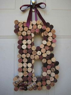 Whimsical Wine Cork Monogram Custom Letter There by kindersquare - Diy Crafts for The Home Wine Craft, Wine Cork Crafts, Wine Bottle Crafts, Wine Bottles, Champagne Bottles, Bottle Candles, Crafts With Corks, Champagne Cork Crafts, Crafts To Make