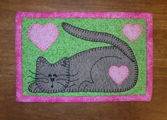Kitten Mug Rug - Cat Mug Rug pattern on Craftsy.com