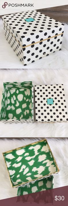 """🆕♠️Kate Spade New York Nesting Box ♠️Kate Spade New York nesting box is perfect for organizing and storing your beauty items or even for your office and closet // Black Polka Dot/Painterly Cheetah (ikat) Green interior trimmed in gold foil accents, labeled """"stow away"""" // Size - 10.5"""" x 8.25""""x 5.5""""/ Brand New🚭SMOKE FREE🚭BUNDLE & SAVE 🛍🛍 kate spade Other"""