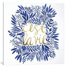 C'est la Vie – Grey & Gold Art Print by Cat Coquillette Image Citation, Good Vibe, Popular Art, Grey And Gold, Gold Art, Illustrations, Blue Art, Art Paintings, Framed Art