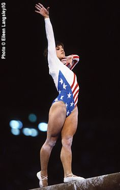 Mary Lou Retton (United States) on balance beam at the 1984 Los Angeles Olympics