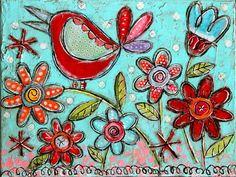 Garden Floral Bird Mixed Media Folk Art Original by GinaMcKinnis, $75.00 Easy Paintings, Original Paintings, Painting For Kids, Art For Kids, Whimsical Art, Pablo Picasso, Mixed Media Collage, Bird Art, Lovers Art