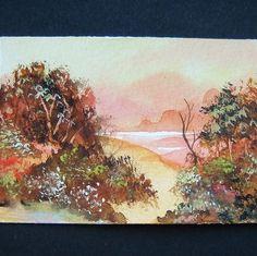 art painting, original aceo sfa autumn trees landscape 138 £4.00