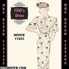 Vintage Sewing Pattern 1930's Short Sleeve Dress Any Size- Plus Size Included- Depew E-1833 Draft at Home Pattern -INSTANT DOWNLOAD-
