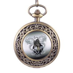 Topearl Double Dragon Tiger Design Antique Bronze Pocket Watch Chain Black Dial White Roman Numeral $12.60 (43% OFF)