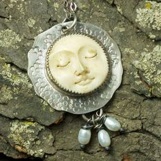 Carved Bone with Pearls and Sterling Silver by JRobergeJewelry, $85.00