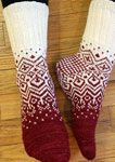 Skandium knit socks by General Hogbuffer in tiziano red and natural