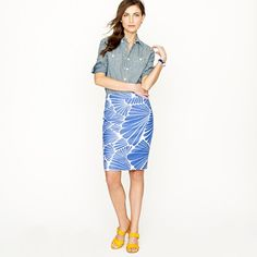 Beautiful print with simple colors. [No. 2 pencil skirt in fanfare; J.Crew]
