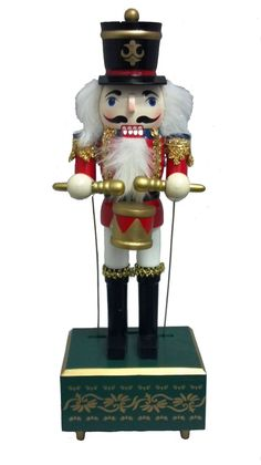 Red Drummer Wooden 14 Inch Musical Christmas Nutcracker