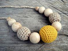 Natural Orange Crochet Teething Necklace Nursing Necklace Breastfeeding Necklace Wood Beads