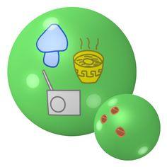 Mushroom, Noodle, Radio Bowling Ball