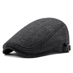 9603ed29a7f Mens Winter Thicken Warm Woolen Beret Hat Adjustable Casual Solid Black  Grey Forward Hats is hot sale on Newchic.