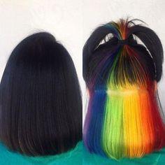 Dyed hair and Hair dyed underneath+ Hidden Hair Color, Cool Hair Color, Under Hair Color, Under Hair Dye, Fast Hairstyles, Pretty Hairstyles, Hair Dyed Underneath, Rainbow Underneath Hair, Peekaboo Hair Colors