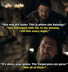 In the very first episode in Season 1, Robert and Ned visit Lyanna's grave in the crypt of Winterfell.