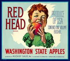 Vintage Labels Washington State Apples label poster - Red Head Brand Produce Of U. Contents One Volume Bushel Washington State Apples Distributed By Nuchief Sales, In . Vintage Labels, Vintage Ads, Vintage Posters, Vintage Food, Retro Food, Vintage Prints, Vegetable Crates, Apple Crates, Fruit Crates