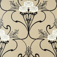 Flower & Vine Art Deco style wallpaper in Beige White Black Gold