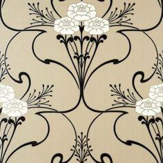 Flower & Vine Art Deco style wallpaper in Beige White Black Gold