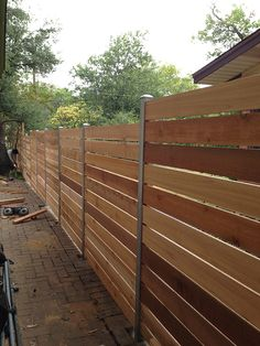 Horizontal style cedar fence