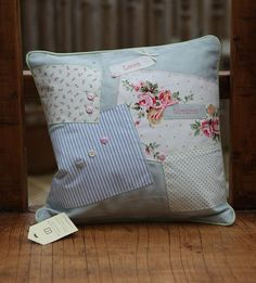 Small Patchwork Cushion in Duck Egg Blue