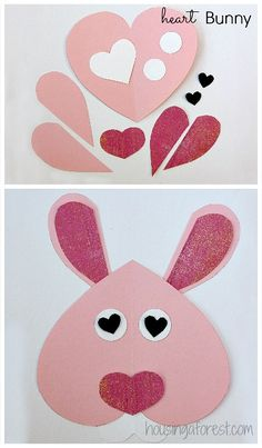 6 Heart Shaped Animals You kids will love creating this simple hippity hoppity project. You could even make a bunch of them and create a beautiful garland. Plus it would look adorable for Valentines Day or Easter! Two holidays in one craft. Valentine's Day Crafts For Kids, Valentine Crafts For Kids, Valentines Day Activities, Toddler Crafts, Craft Activities, Preschool Crafts, Holiday Crafts, Kinder Valentines, Valentines Day Party
