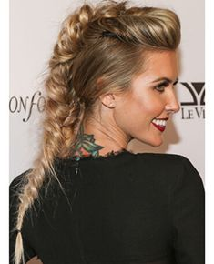 Audrina Patridges fishtail braid crossed with mohawk