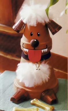 Clay flower pot dog figurine with white fur