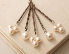 Pearl wedding hair pins bridal pearl hair combs by louloudimeli