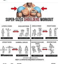 The Super Sized Shoulders Workout Gym Workout Chart, Workout Routine For Men, Gym Workout Tips, Workout Fitness, Workout Diet, Sport Fitness, Muscle Fitness, Fitness Tips, Fitness Motivation