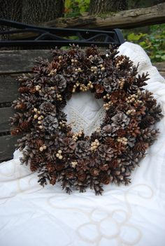 Pinecone Wreath. Could add berries or something simple for color!
