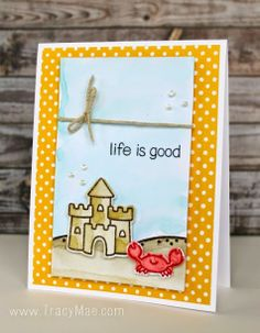 Lawn Fawn - Life is Good, Let's Polka 6x6 paper _ sweet water-colored card by Tracy at Tracy Mae Design: Life Is Good || Lawnscaping Challenge