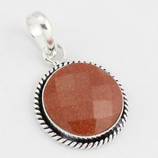 BROWN SUNSTONE FASHION JEWELRY  .925 SILVER PLATED PENDANT  S5804