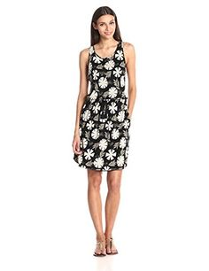Lucky Brand Womens All Over Printed Dress Black Floral Print Small ** Check this awesome product by going to the link at the image.