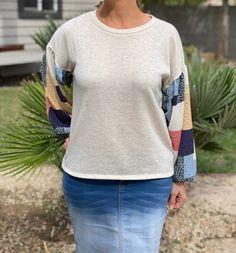Patchwork Sweater - Cream Shop the look at www.shannasthreads.com #modestfashion #patchworktop, #bohochic, #shannasthreads