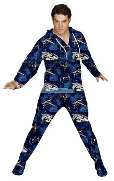 Star Wars Footed Pajamas -These Footies are loaded with extras featuring: Hoodies, thumb holes, logo zipper pull, front kangaroo pockets and a left shoulder iPhone pocket. © Lucasfilm Ltd. & TM $64.99
