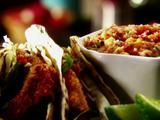 The Ultimate Fish Tacos Recipe (Tyler Florence) - I substituted my friend's mango salsa recipe, and cheated by using Gorton's fish sticks - the big ones.  Dee-lish!