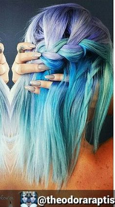 purple blue pastel braided dyed hair