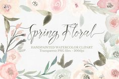 Spring Floral Watercolor Clipart Set - Illustrations - 1