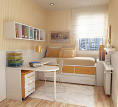 Compact bedroom with nifty storage space.