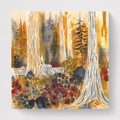 """🌿 FOREST WARMTH 🌿 You know that feeling when you are in the forest and the sun breaks through the trees and warms your face? The best right? That was the inspiration for this 30x30"""" acrylic on wood painting 'Forest Warmth' by Canadian Artist April Lacheur. Tree Paintings, Original Paintings, Nature Artists, Art Bag, Canadian Artists, British Columbia, Bold Colors, Painting On Wood, West Coast"""